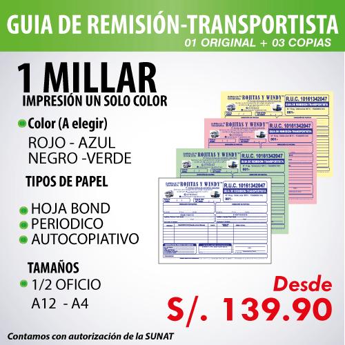 Imprime tus comprobantes de pago en Florez Mercado Contadores- Guia de remisión Transportista