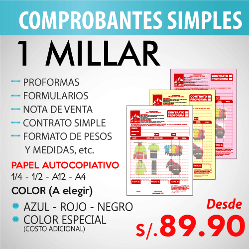 Imprime tus comprobantes de pago en Florez Mercado Contadores, comprobantes simples, notas de venta, recibo de ingresos