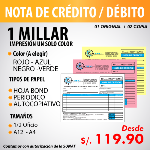Imprime tus comprobantes de pago en Florez Mercado Contadores - Nota de crédito - nota de débito