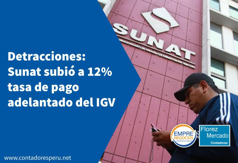Detracciones: Sunat subió a 12% tasa de pago adelantado en servicios