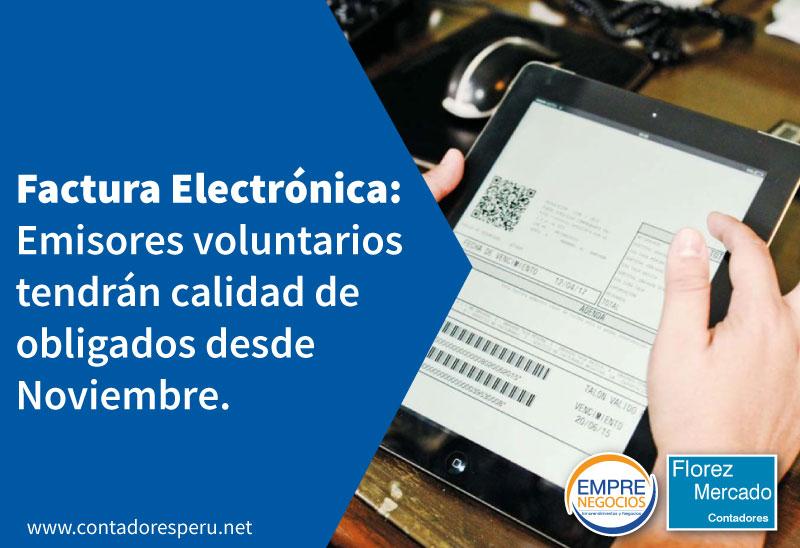 Emisores voluntarios de comprobantes de pago electrónicos tendrán calidad de obligados desde Noviembre.