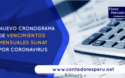 Nuevo cronograma de vencimientos mensuales SUNAT por Coronavirus